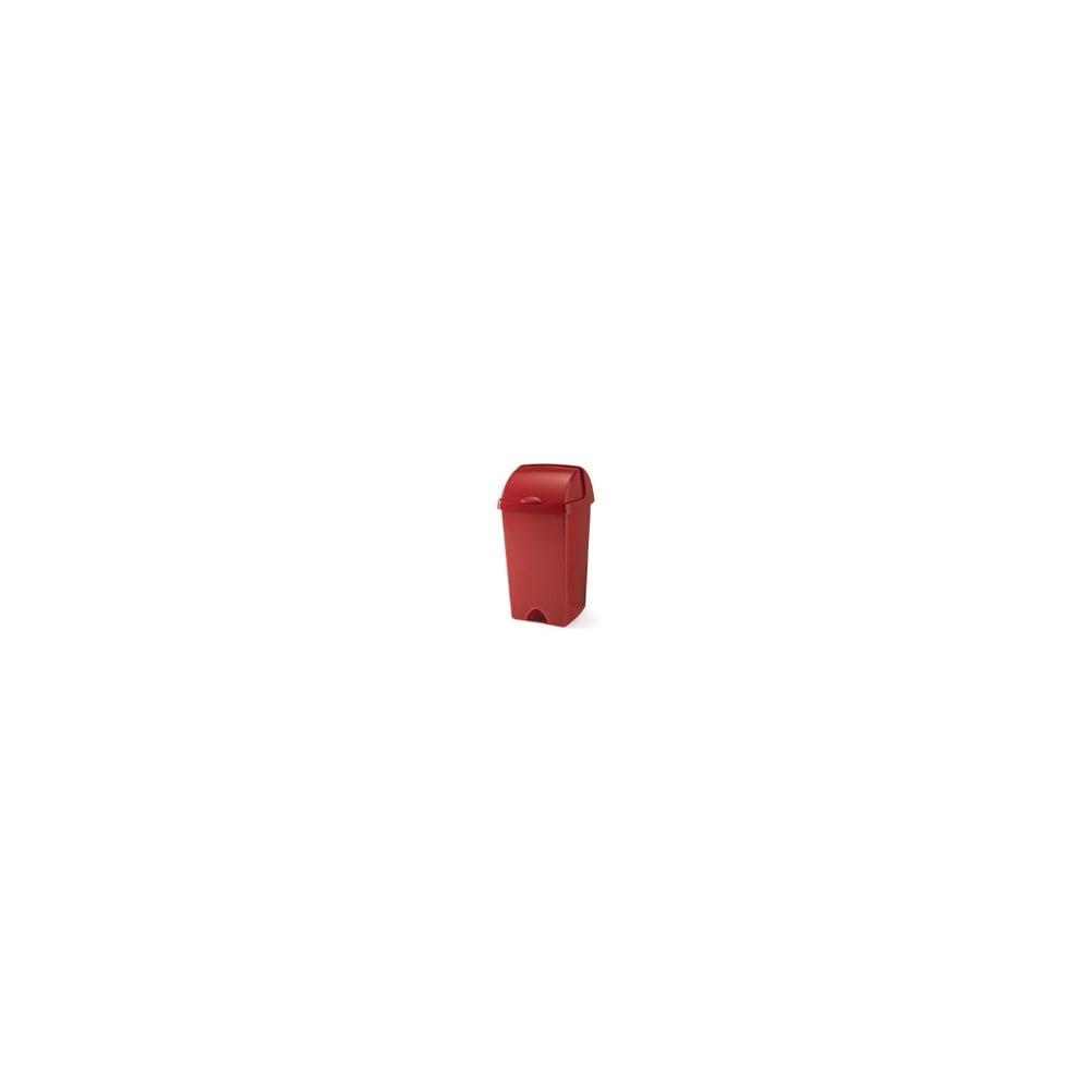 Červený odpadkový koš se zasouvacím víkem Addis, 38 x 34 x 68 cm