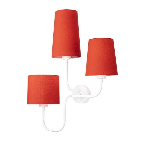 Bílé kovové nástěnné svítidlo s červenými stínidly Opviqlights Eleni
