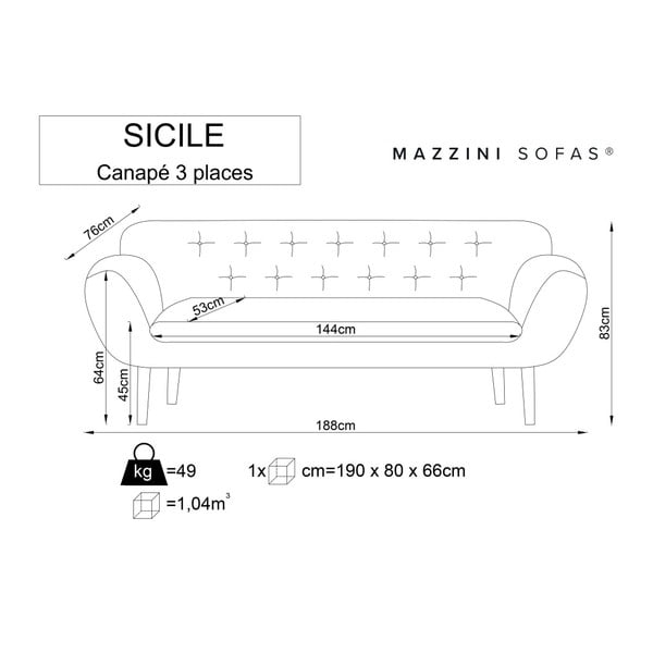 Mentolově zelená trojmístná pohovka se světlými nohami Mazzini Sofas Sicile