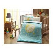 Lenjerie de pat cu cearșaf din bumbac Hallmar Baby Boy, 100 x 150 cm