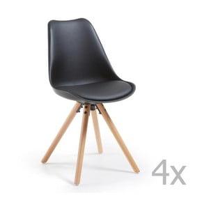 Sada 4 černých jídelních židlí s dřevěným podnožím La Forma Lars