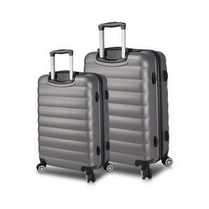 Sada 2 šedých cestovních kufrů na kolečkách s USB porty My Valice RESSNO Large & Medium