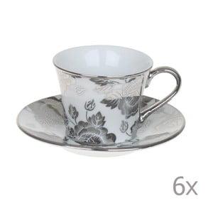 Set hrnků Coffee Silver Flowers, 6 ks