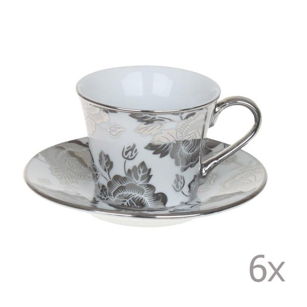 Set hrnků Coffee Silver Flowers, 6 ks