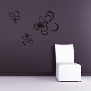 Samolepka na stěnu Floral triangles, černá