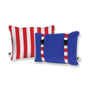 Modrý oboustranný plážový polštář Origama Red Stripes