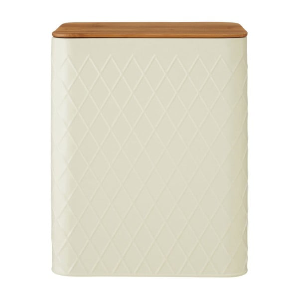 Recipient dreptunghiular cu capac din bambus Premier Housewares Rhombus, crem