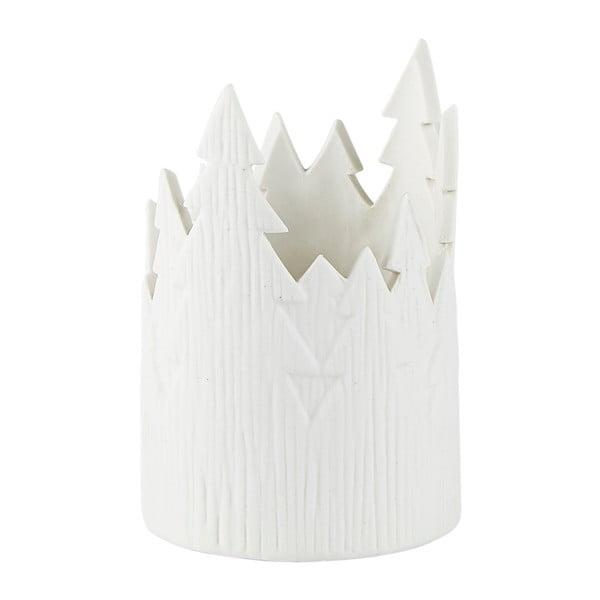 Suport lumânare din porțelan KJ Collection Ruma, 12,5 cm, alb