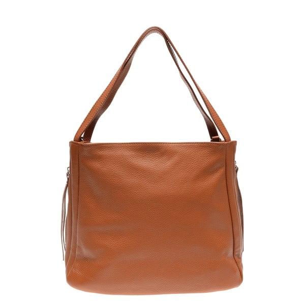 Hnědá kožená kabelka se 3 vnitřními kapsami Carla Ferreri