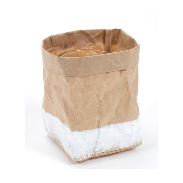 Svícen/květináč  Feeling Bag Bruin Wit, 13 cm