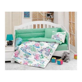 Lenjerie de pat din bumbac pentru copii și protecție saltea Blue Elephants