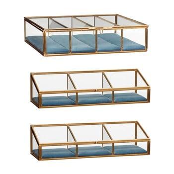 Set 3 cutii depozitare din sticlă cu alamă Hübsch Azulo de la Hübsch