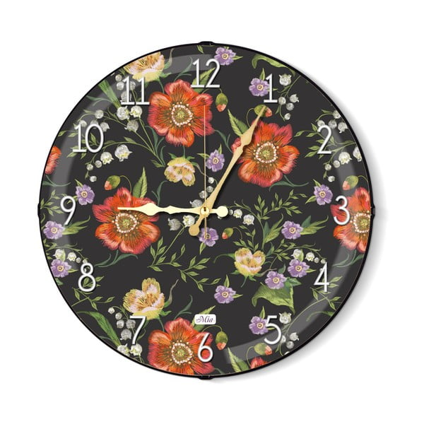 Ceas de perete The Mia Floral, negru-portocaliu