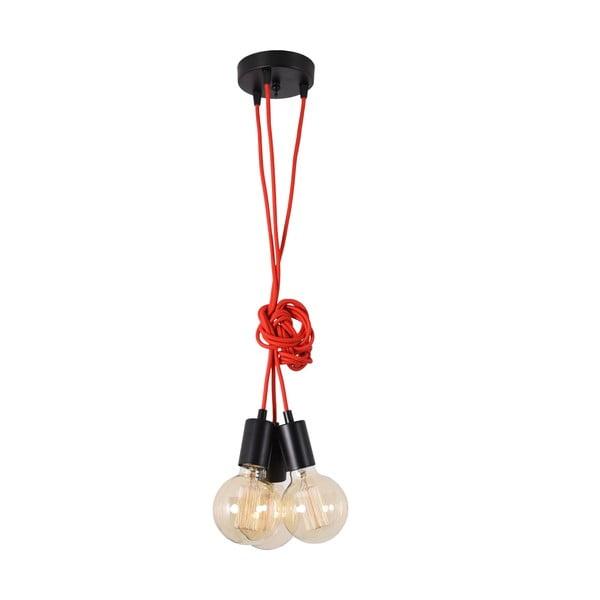Červené trojité závěsné světlo Filament Style Spider