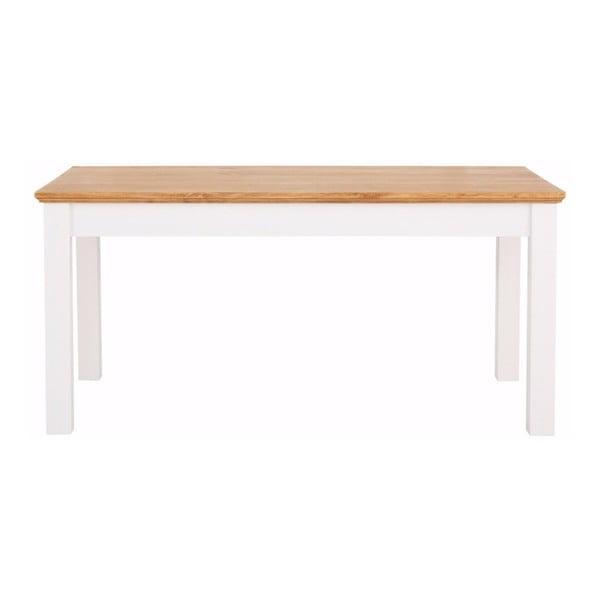 Bílý jídelní stůl z masivního borovicového dřeva se zásuvkou Støraa Suzie