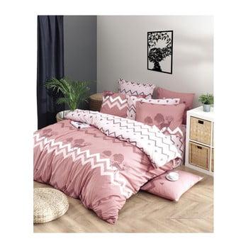 Lenjerie de pat cu cearșaf din bumbac ranforce, pentru pat dublu Mijolnir Bree Dusty Rose, 160 x 220 cm de la Mijolnir