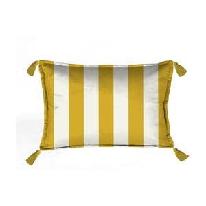 Žluto-bílý dekorativní polštář Velvet Atelier Strips, 50 x 35 cm