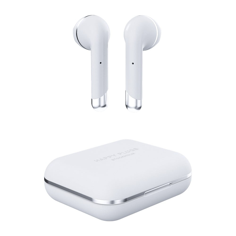 Bílá bezdrátová sluchátka s krabičkou Happy Plugs Air 1