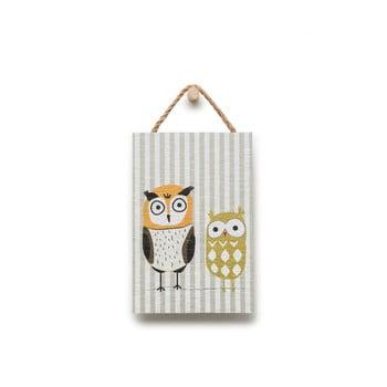 Tablou din lemn KICOTI Owl, 20 x 30 cm, multicolor de la KICOTI