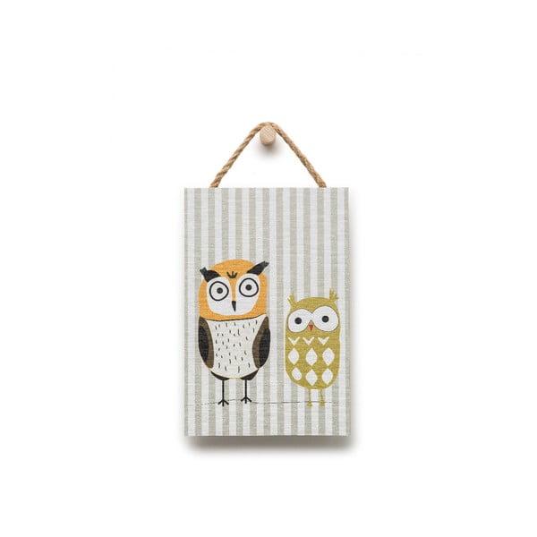 Nástenná dekorácia s motívom sovičiek KICOTI, 20 × 30 cm