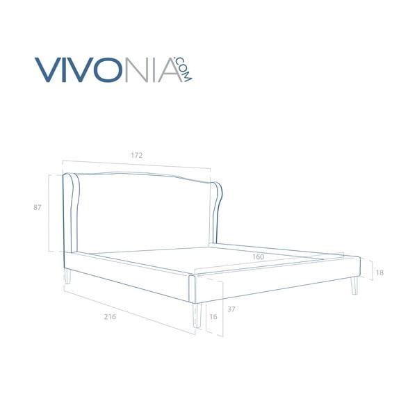 Pastelově růžová postel s přírodními nohami Vivonita Windsor,160x200cm