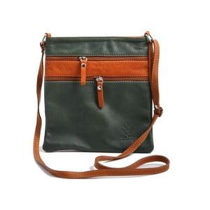 Zelená-koňakově hnědá kabelka z pravé kůže GIANRO' Wull