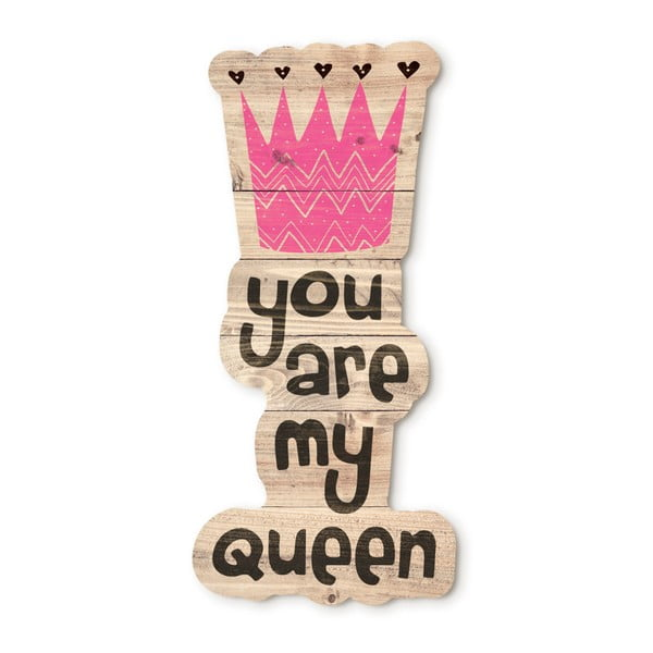 Dřevěná nástěnná dekorace Tanuki You Are My Queen, 30x48cm