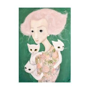 Poster de autor, Léna Brauner, Domnișoara cu malvine, 44 x 60 cm
