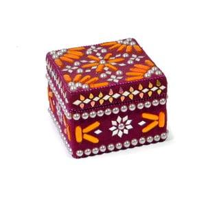 Dřevěná šperkovnice zdobená korálky Manípur