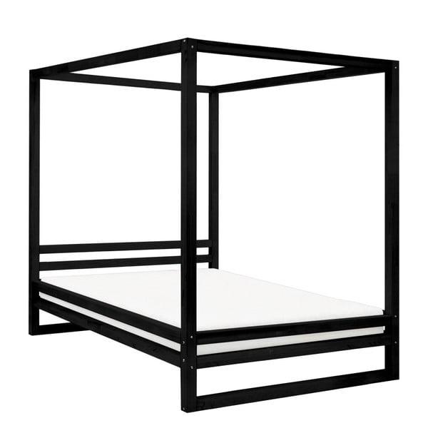 Čierna drevená dvojlôžková posteľ Benlemi Baldee, 200 × 200 cm