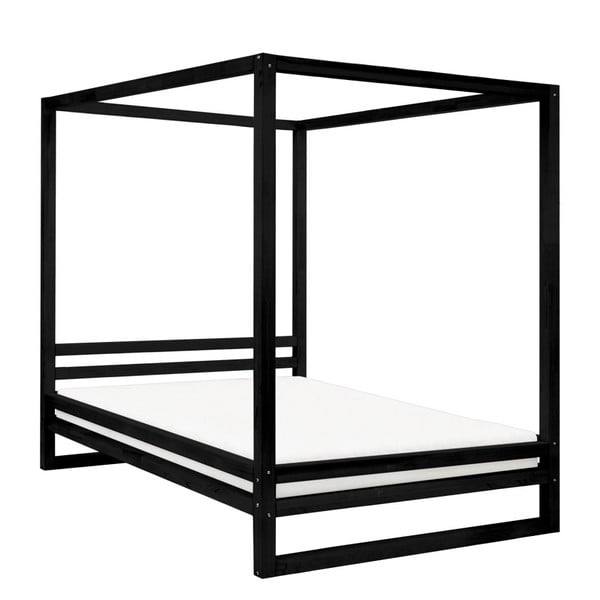 Czarne drewniane łóżko dwuosobowe Benlemi Baldee, 200x200 cm