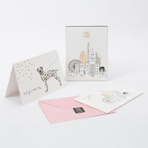 Sada 6 přání a růžových obálek GO Stationery Just Add Stamp London