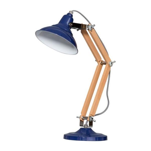 Dřevěná stolní lampa s modrým stínítkem ETH Calia