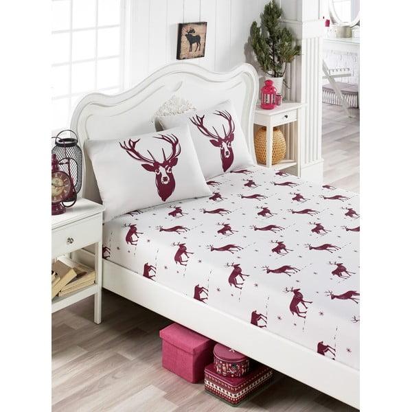 Set lenjerie și 2 fețe pernă din amestec de bumbac, pentru pat dublu EnLora Home Geyik Claret Red, 160 x 200 cm