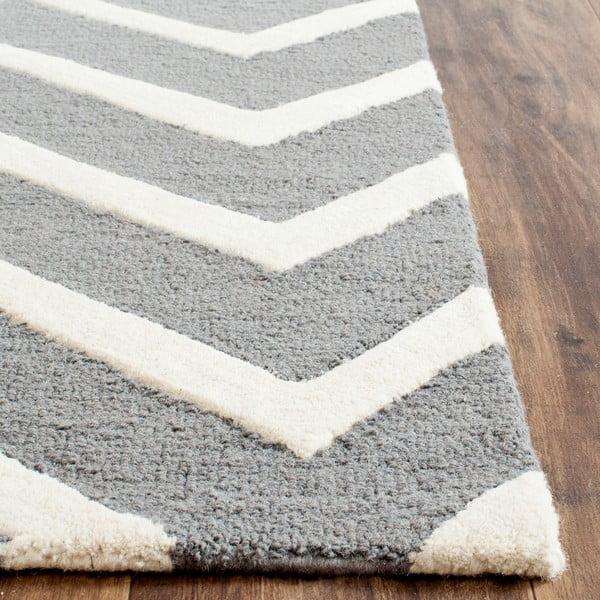 Vlněný koberec Edie Light Grey, 91x152 cm