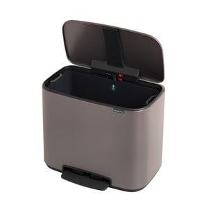 Odpadkový pedálový koš v platinové barvě Brabantia Bo, 36l