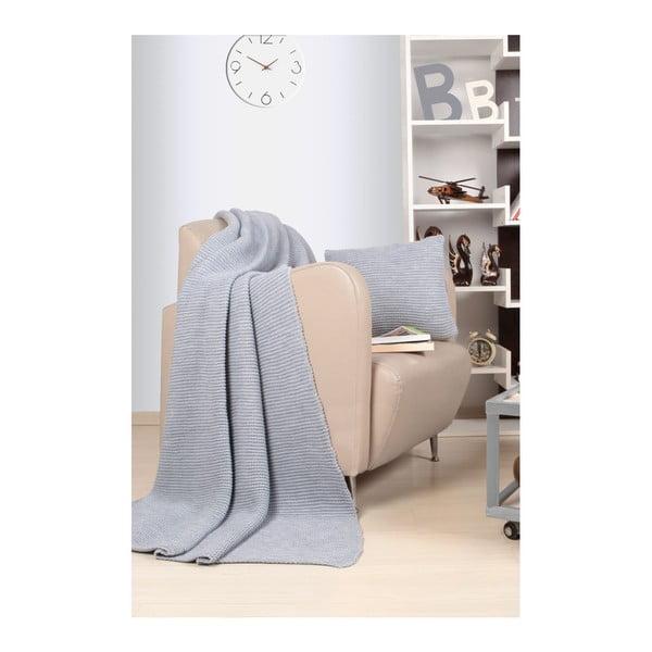 Set pătură și pernă Kate Louise Tricot Hanzade, gri deschis
