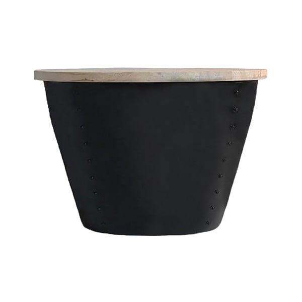 Černý příruční stolek s deskou z mangového dřeva LABEL51 Indi, ⌀46 cm