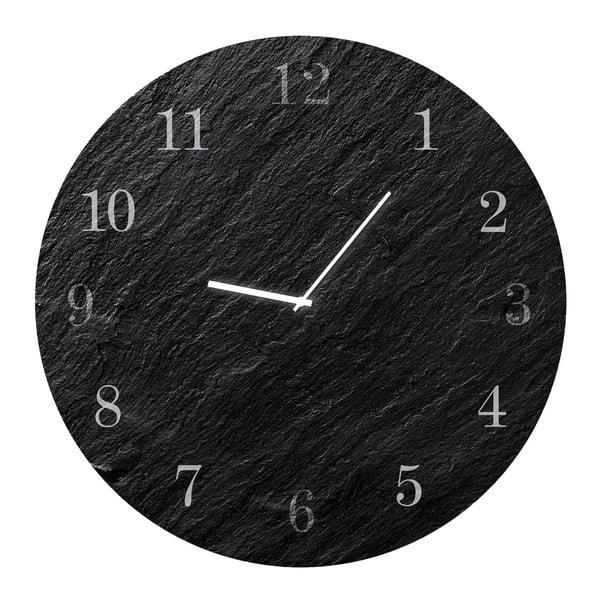Ceas de perete Styler Glassclock Carbon, ⌀ 30 cm