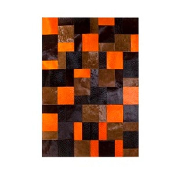 Koberec z pravé kůže Pipsa Acid Orange, 150x210 cm