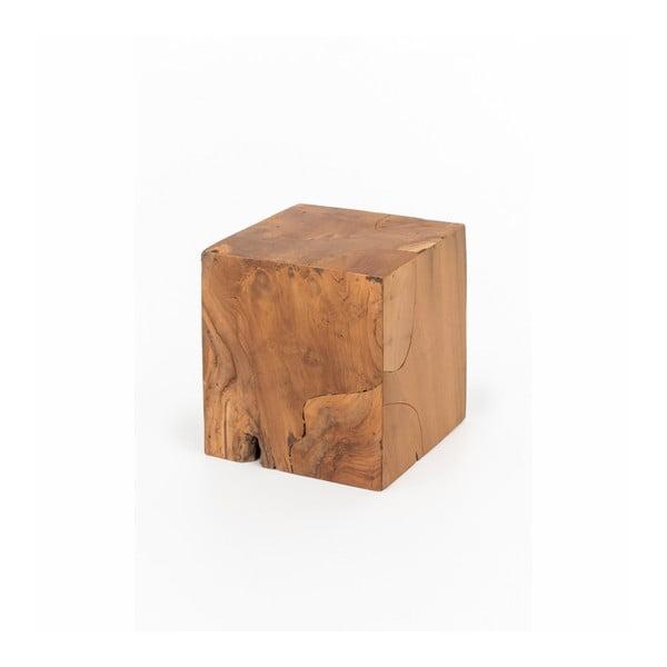 Taburet din lemn de tec WOOX LIVING Patchwork, 35 x 35 cm