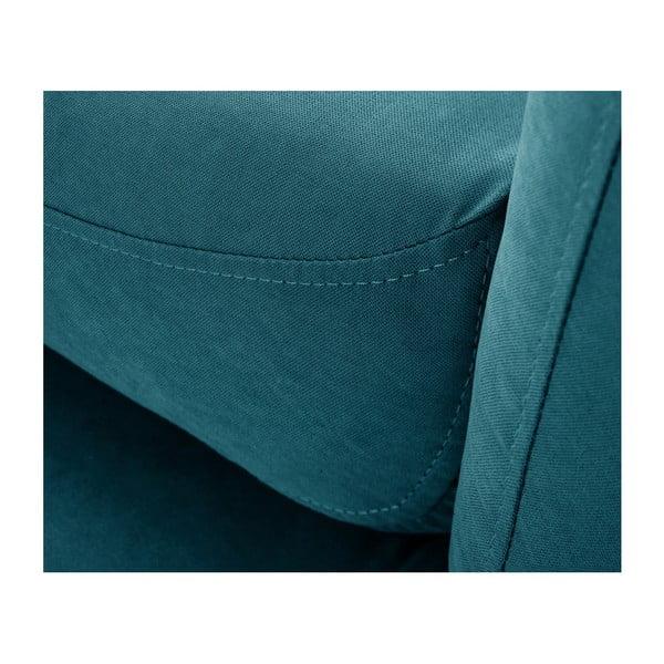Tyrkysově modrá trojmístná pohovka Scandi by Stella Cadente Maison Comete, pravý roh