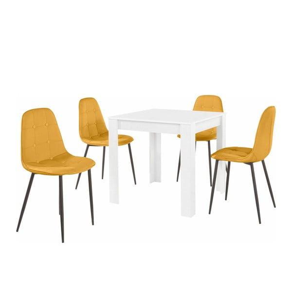 Set bílého jídelního stolu a 4 oranžových jídelních židlí Støraa Lori Lamar Duro