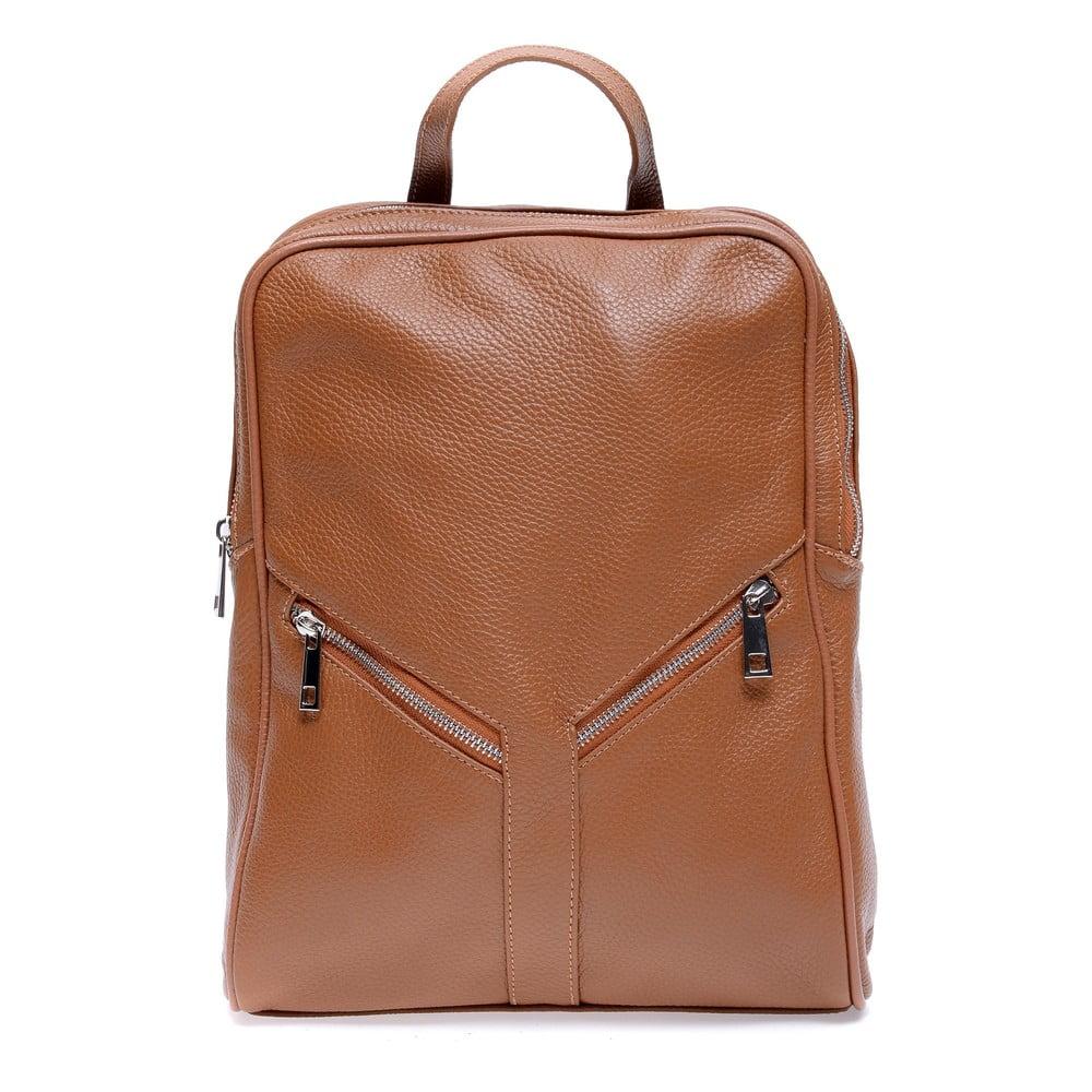 Hnědý kožený batoh Roberta M Linda