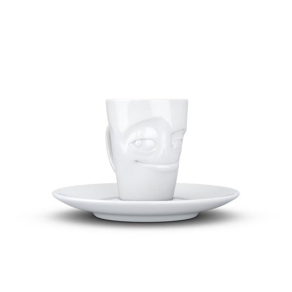 Cană din porțelan pentru cafea cu farfurie, zâmbet, 58products, alb
