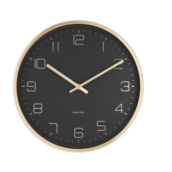 Černé nástěnné hodiny Karlsson Elegance