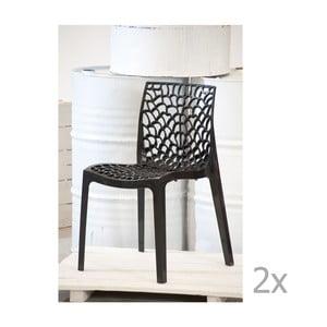 Sada 2 antracitových jídelních židlí Castagnetti Apollonia