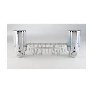 Nástěnný dvojitý dávkovač mýdla s poličkou do sprchy Compactor