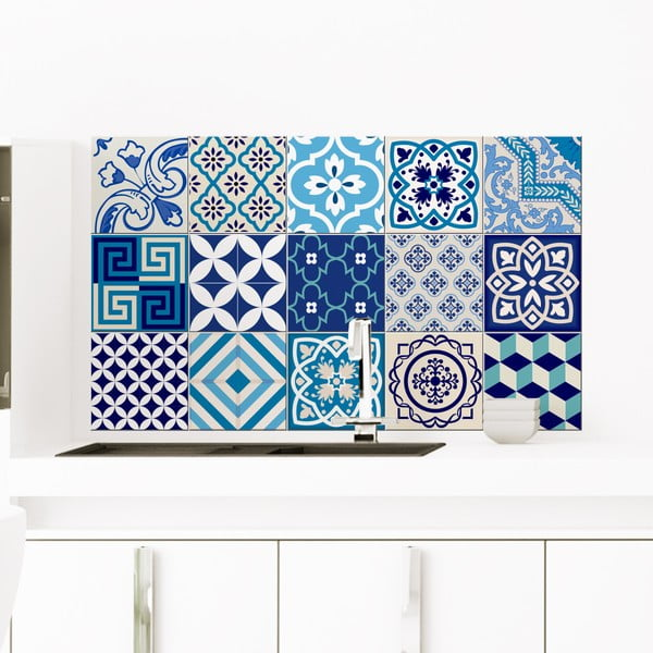 Sada 15 dekoratívnych samolepiek na stenu Ambiance Azur, 10×10 cm