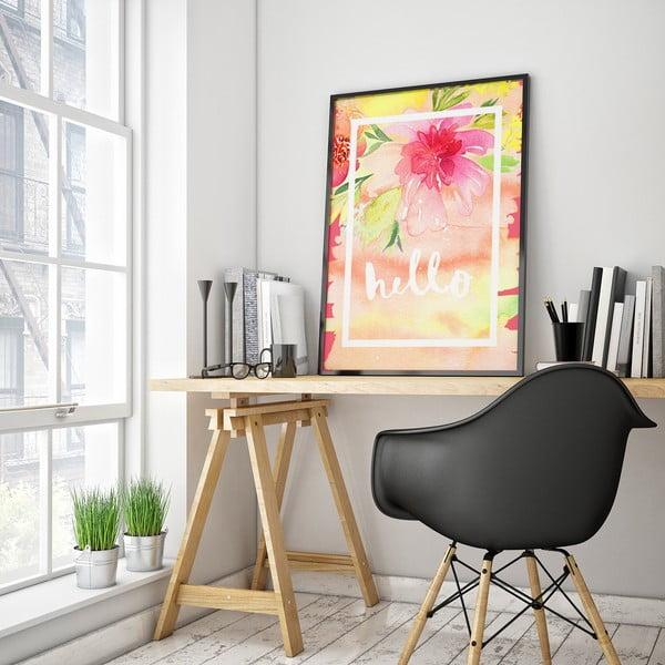 Plakát s růžovými květy Hello, 30 x 40 cm